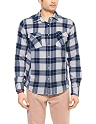 Zovi Men's Cotton Slim Fit Casual Grey White And Pink Checkered Flannel Shirt With Raised Knitting (11336507901...