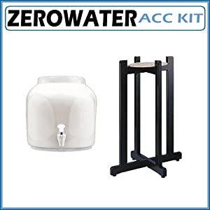 Ceramic Water Crock Dispenser - Classic White with Black Wood Floor Stand