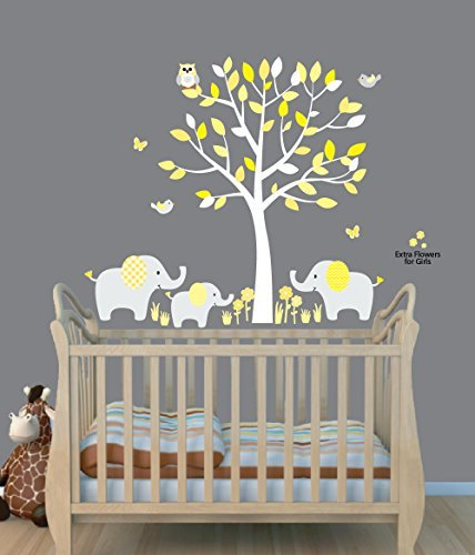 Nursery Decals and More Fabric Tree Stickers, Elephant Jungle Stickers, Yellow Gray, Animal Wall Art