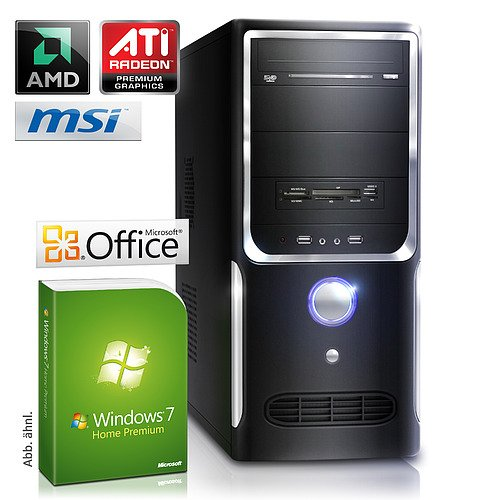 PC - CSL Sprint A19993H (Dual) - Office DualCore! PC-System mit AMD Athlon II X2 250 2x 3000 MHz, 500GB SATA, 8192MB DDR3, Radeon HD 3000, DVD-RW, CardReader, 7.1 Sound, GigLAN, Windows 7 Home Premium, Office 2010 preloaded