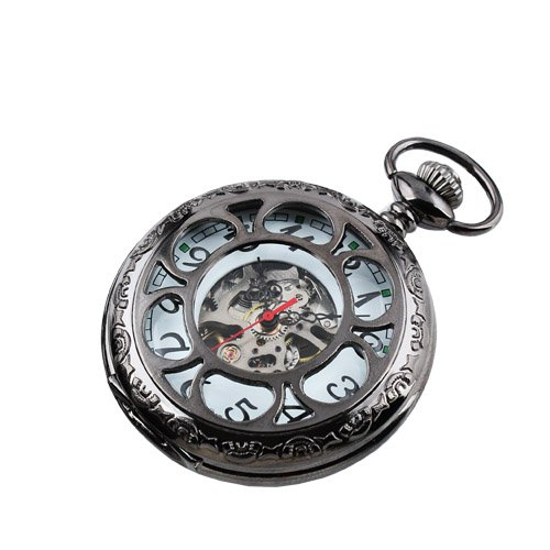New Mens Black Stainless Steel Case White Dial Hand-Wing Up Mechanical Pocket Watch with Chain