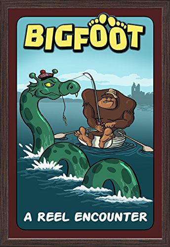 Bigfoot Catches Loch Ness Monster (24x36 Giclee Art Print, Gallery Framed, Espresso Wood) (Ness Espresso compare prices)