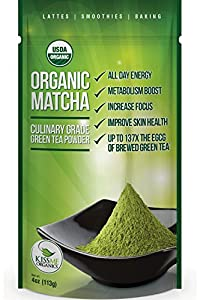 Kiss Me Organics - Matcha Green Tea Powder - ORGANIC - All Day Energy - Green Tea Lattes - Smoothies - Baking - Improved Hair & Skin Health- Metabolism Boost - Antioxidant Rich - Now From Japan!