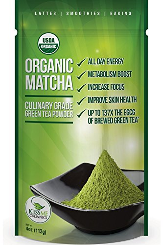 Matcha Green Tea Powder - Powerful Antioxidant Japanese Organic Culinary Grade - 113 grams (4 oz) - For use in Lattes, Cookies, Smoothies, and Baking (Kiss Me Organics compare prices)
