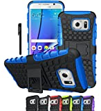 Galaxy S7 Edge Case, OEAGO Samsung Galaxy S7 Edge Cover Accessories - Tough Rugged Dual Layer Protective Case with Kickstand for Samsung Galaxy S7 Edge - Blue