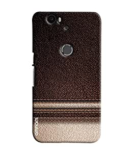 Omnam Brown Leather Pattern Cream Shade Effect Printed Designer Back Cover Case For Goolge Nexus 6 P