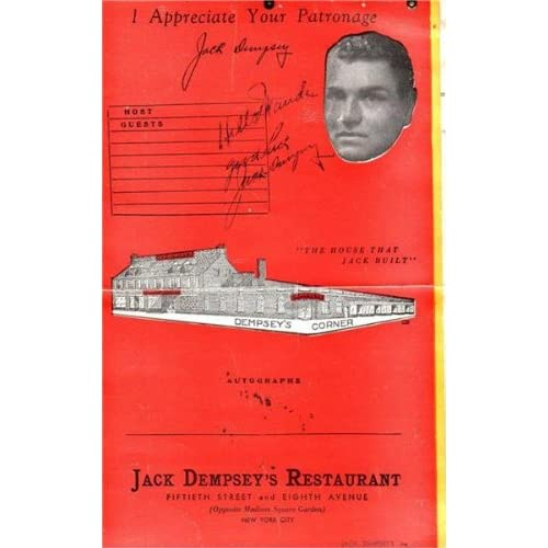 Boxer Jack Dempsey Autographed Menu From Jack Dempsey's In New York