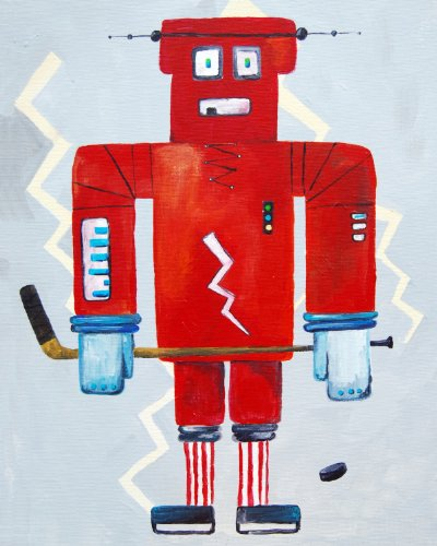 Cici Art Factory Wall Art, Bom Loves Hockey, Small