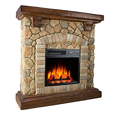 Twin-Star Electric Fireplace 18WM40070 Free Standing 1400 Watt Stone Electric Space Heater