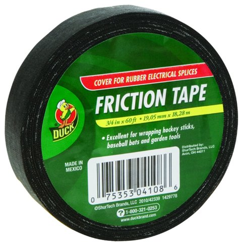 Duck Brand 393150 Friction Tape, 3/4-Inch By 60 Feet, Single Roll, Black