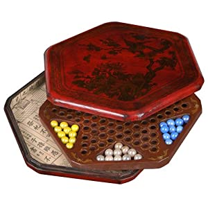 EXP Handmade Antiqued Leather Chinese Checkers Set With Hand-painted Carrying Case