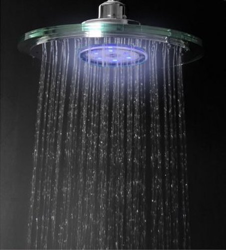 "Bathroom Chrome Led Shower Head 9"" Fb6023 Rain Style"