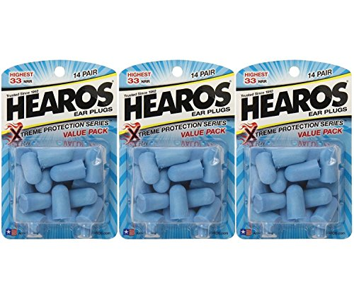 Hearos ear plugs xtreme protection 14pair foam roller