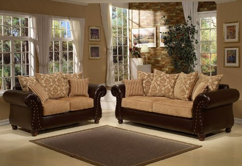 Buy Low Price Benchley 2pc Sofa Loveseat Set with Nail Headed Accent and Beige Damask Cushion Back (VF_BCL-LINCOLN)