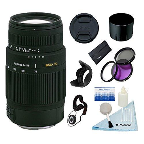Sigma 70-300Mm F4-5.6 Dg Macro Lens W/58Mm 3 Pc Filter Kit & More For Nikon F Mount Cameras