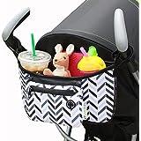 Stroller Organizer - Chevron - FREE Snack Cup Holder - SavvyBaby Universal Fit Stroller Parent Console, Stroller Organizer Bag - Best Jogging Stroller Accessories, Baby Shower Gift