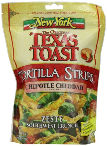 New York Texas Toast Tortilla Strips Chipotle Cheddar, 4.5-Ounce Bags (Pack of 8)