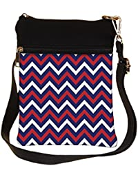 Snoogg Blue Red Pattern 2541 Cross Body Tote Bag / Shoulder Sling Carry Bag