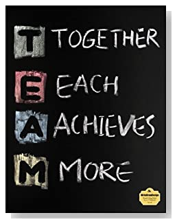 T.E.A.M. Notebook - Perfect for a co-worker gift or as part of a seminar packet. TEAM, Together Each Achieves More, written in colored chalk on a chalkboard background ties the theme together on the cover of this blank and college ruled notebook with blank pages on the left and lined pages on the right.