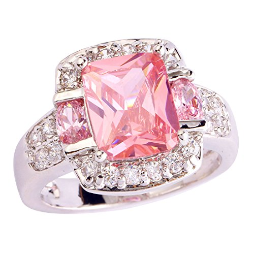 Psiroy Women's 925 Sterling Silver 3ct Pink Topaz Filled Ring (Can Can Sally Child Costume)