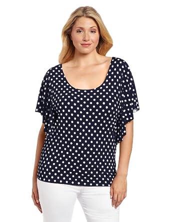 Star Vixen Women's Plus-Size Angel Sleeve Top, Navy/White Dot, 1X