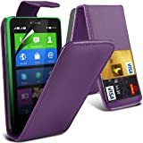 ONX3 Purple Nokia X Protective Faux Credit / Debit Card Leather Flip Skin Case Cover & LCD Screen Protector Guard