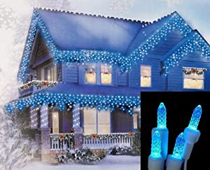 Set of 70 Blue LED M5 Icicle Christmas Lights - White Wire