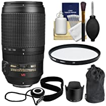 Nikon 70-300mm f/4.5-5.6G ED IF AF-S VR Zoom Lens with HB-36 Hood & Pouch Case + UV Filter + Accessory Kit for D3100, D3200, D5100, D5200, D7000, D7100, D600, D800 Digital SLR Camera