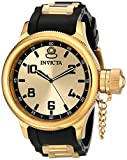 Invicta Russian Diver Men's Quartz Watch with Gold Dial Analogue Display and Gold PU Strap 1438