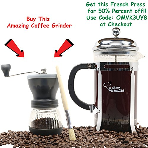 Kitchen Paradise Best Manual Hand Coffee Grinder Mill is Easy to Use and Clean, Dishwasher Safe, Lightweight & Portable with Adjustable Ceramic Burr for Custom Coarse or Fine Grind, Makes a Great Gift