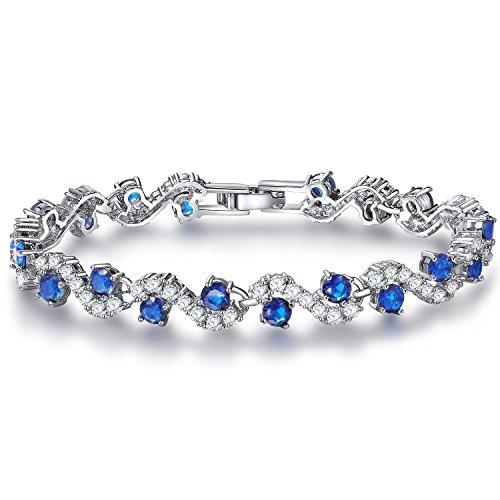 FLORAY Donna o Ragazza Frizzante zircone Bracciale tennis. Onde Progettazione. Casella di gioielli blu gratis. Bel regalo.
