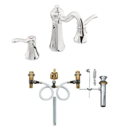 Moen T6305-9000 Vestige Two-Handle High Arc Bathroom Faucet with Valve, Chrome