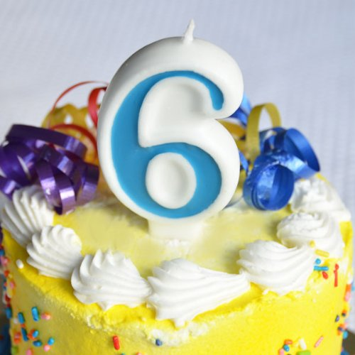 "Number ""6"" Numerals Birthday Party Cake Candle - Blue - 1"