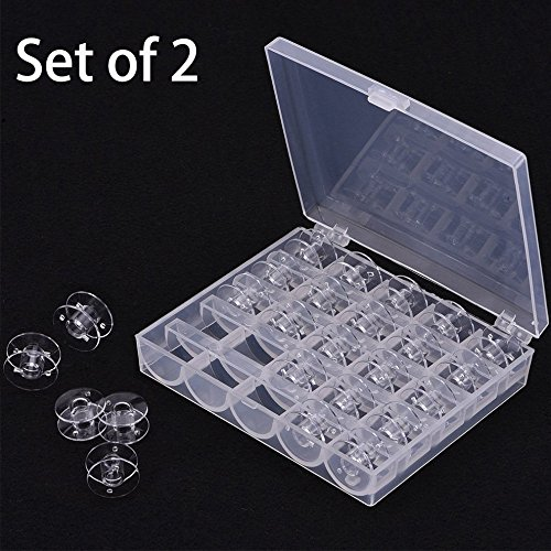 Great Features Of Trasfit 2 Pack 25Pcs Plastic Clear Sewing Machine Bobbins Spools, Sewing Storage O...