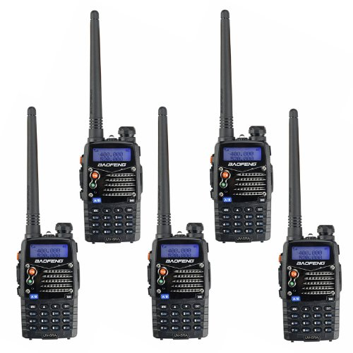 5 Pack BaoFeng UV-5RA 136-174/400-480 MHz Dual-Band Two Way Radio Black + Baofeng Programming Cable (Support WIN7,64 Bit)