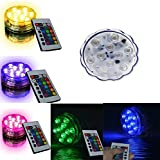Waterproof Submersible Color Changing LED Lights Battery Powered 10 LEDs Bulb with Remote Control for Wedding, Party, Swimming Pool, Fish Tank, Christmas Decorations Light