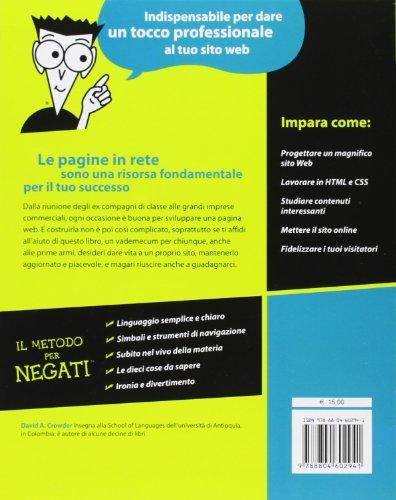 Libro creare un sito web per negati di david a crowder for Sito per acquistare libri