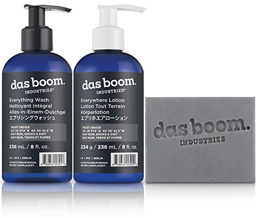 [Das Boom Body Basics Set (Soap, Lotion, Wash) - West Indies (Bay Rum, Smoke, & Dirt)] (Deluxe Smoke Mask)