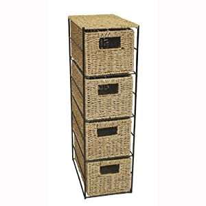 Jvl meuble en osier 4 tiroirs 24 x 17 x 64 5 cm for Meuble tiroir osier