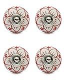 Knobs & Hooks FBK-382 Ceramic Cabinet Knob; White+Red; (Set of 4 pieces)