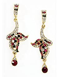 Bindhani Gold Plated With Rani Pink And Green Crystral Stones Dangler & Drop Ethnic Fashion Earrings For Women...