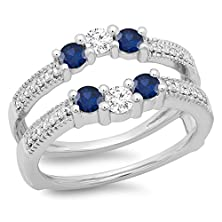 buy 14K White Gold Blue Sapphire & White Diamond Wedding Band 3 Stone Enhancer Guard Double Ring (Size 7)