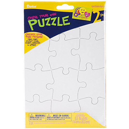 Darice 12-Piece Puzzle To Color Set, 51/2 by 8-Inch