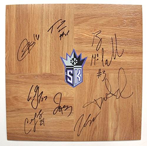 sacramento-kings-2013-14-team-autographed-signed-basketball-floorboard-rudy-gay-ben-mclemore