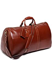 Leathario Genuine Leather Overnight Travel Duffle Bags for Men