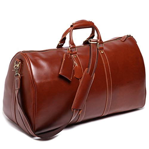 Leathario Mens Genuine Leather Overnight Travel Duffel Weekender Bag Leather Luggage (Travel Garment Bag Leather compare prices)