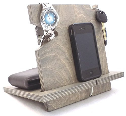 Christmas Gift For Him, Wooden iPhone/Android Docking Station, Birthday Gifts For Men, Universal Cell Phone Stand (Classic Gray-non personalized)