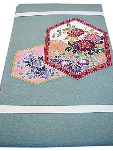 博多着物市場 きものしらゆり 水浅葱色 縮緬地 手描き 染 名古屋帯 正絹 仕立て上がり