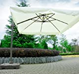 Outsunny Offset Tilt Patio Umbrella Sun Shade with Base, 10-Feet, Cream