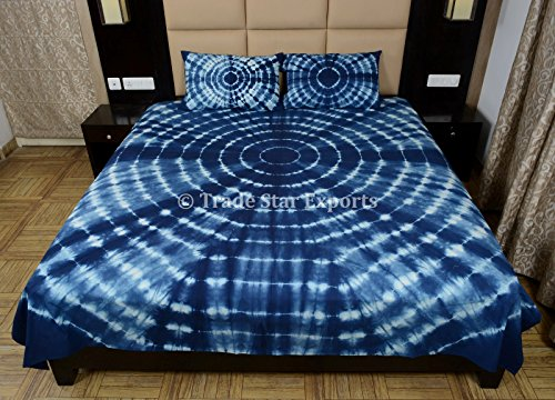 Indigo Bedding Set, Shibori Indian Bedspread Queen, Tie Dye Bed Cover With Pillow Cover, Handmade Cotton Bedsheet (Tye Dye Bed Set Full compare prices)
